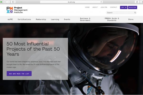 Screen shot of PMI Homepage